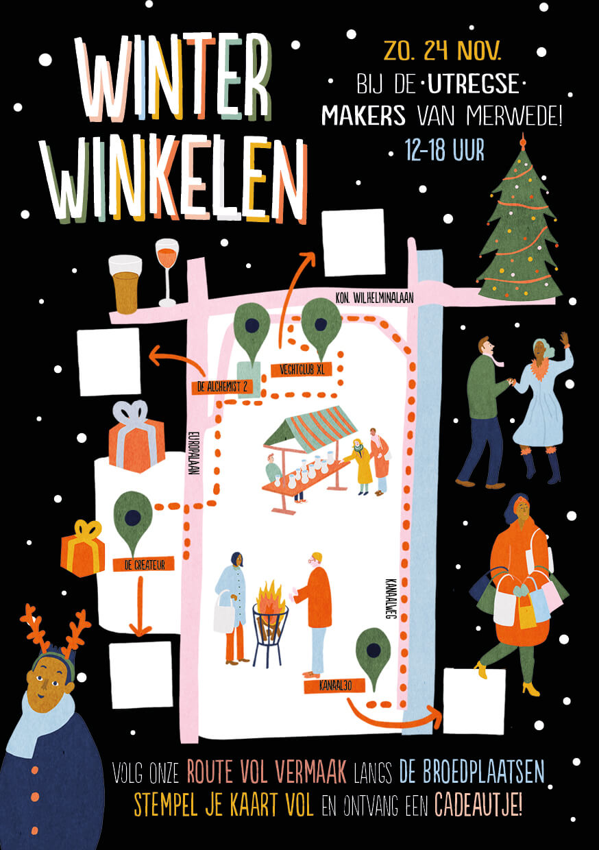 Winterwinkelen 2019 artwork festival poster illustration vechtclub xl utrecht local creative posterillustration visual identity